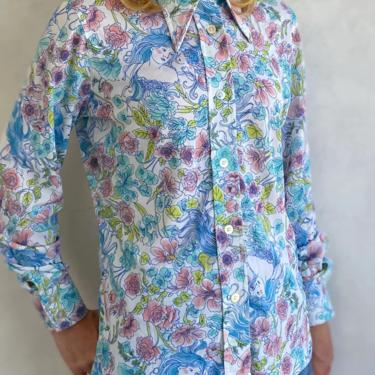 70s Vintage Psychedelic Goddess Pastel Floral print button down blouse - 1970s Long sleeve shirt by LittleSparkVintage