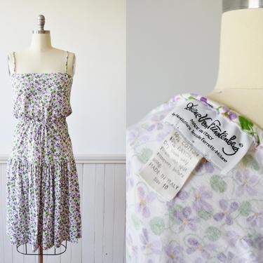 1970s Diane Von Furstenberg Jersey Knit Violet Print Dress | Vintage 1970s DVF Floral Print Sun Dress | Designer | Made in Italy | M by wemcgee