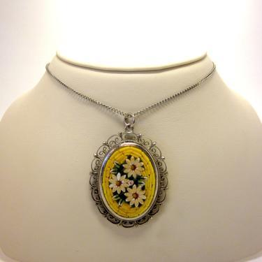 Vintage Sunshine Yellow Floral Daisy Oval Italian Micro Mosaic Pendant Necklace by LazyDogAntiqueStore