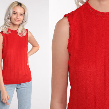 Red Sweater Vest Top Knit Tank Top Sleeveless Nerd 70s Vest Boho Knit Plain Normcore Sleeveless Hippie Vintage Small by ShopExile