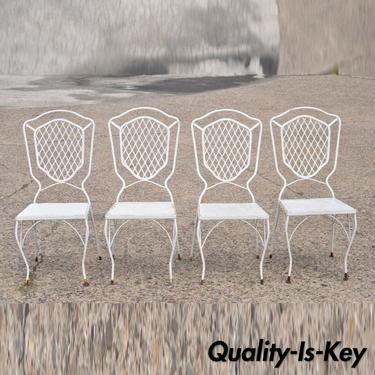 Vintage Mid Century White Wrought Iron Garden Patio Dining Chairs - Set of 4