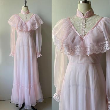 1970s Dress Pink Chiffon Lace Maxi Gown S by dejavintageboutique