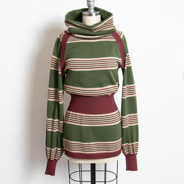 1970s YSL Sweater Tunic Dress Wool Striped Knit Yves Saint Laurent by dejavintageboutique