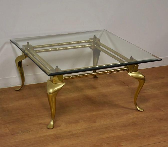Brass & Glass LaBarge Square Coffee Table by mixedmodern1