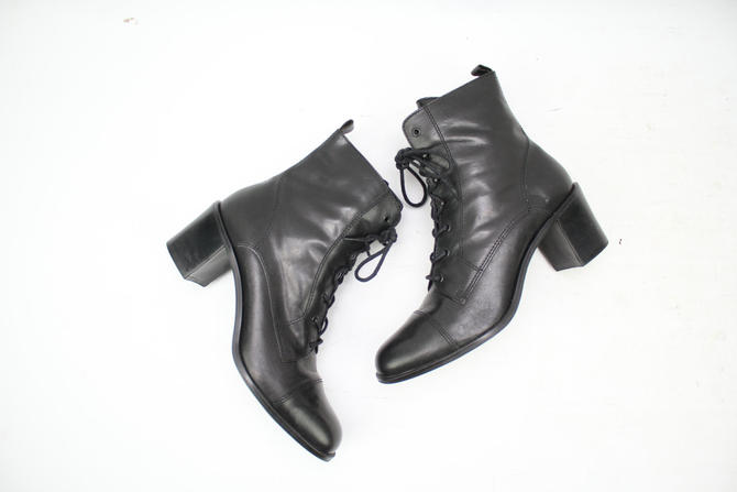 3032b18021ab7 Vintage 90's Black Leather Heeled Ankle Boots / 1990's ...