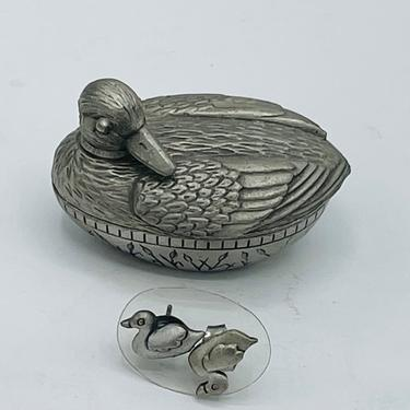 """Vintage Pewter Duck Trinket Box Inside Quote:  To Love Something is to Let it Be Free"""" Contains Earrings-1.5"""" by JoAnntiques"""