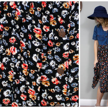 1990's Denim and Floral Shirtdress in Women's XL XXL Plus Size by KittenSurprise
