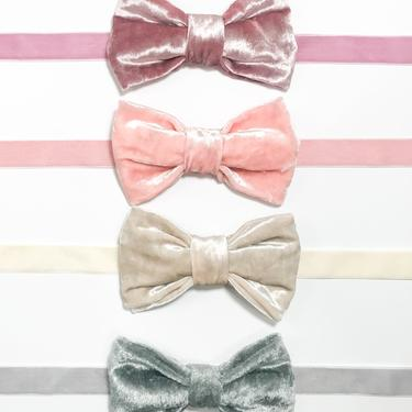 Crushed Velvet Bow Tie - Creme / Ivory / Charcoal / Burgundy / Mint - PreTied - Assorted Colors by IrisAtelierCouture