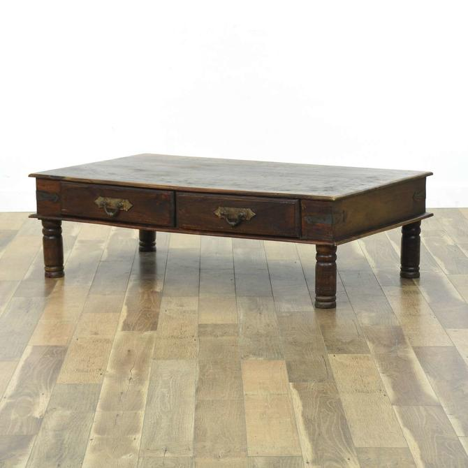 Large Rustic Coffee Table W Hardware Detail