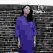 1980s Oversized Caftan Sack Dress Mandarin Collar by SpeakVintageDC