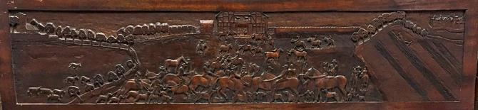 Scottish Carved Panel Frieze Headboard Mantlepiece | Horse Dog Equestrian Art