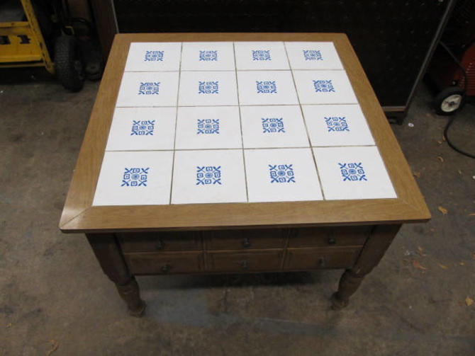 Vintage Mid Century Modern Tile top table with a  drawer by 3GirlsAntiques