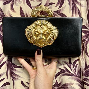 Custom Vintage Black Leather & Gold Lion Clutch Purse
