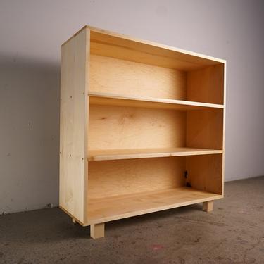 "Office Bookcase, 49""H, Mid Century Record Shelf, Geometric Bookshelf, Modern Offset Shelf (Shown in Maple) by TomfooleryWood"