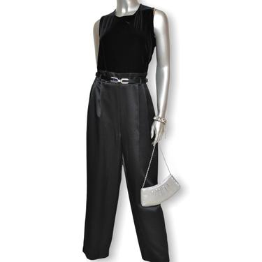 Vintage Black Satin and Stretch Velvet Jumpsuit One Piece Romper Medium by TheUnapologeticSoul