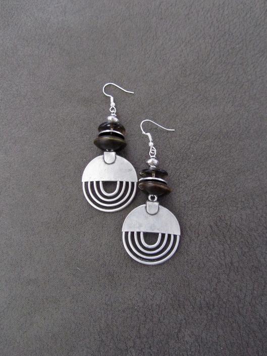 Hammered silver earrings, geometric earrings, unique mid century modern earrings, ethnic earrings earrings, bohemian earrings, statement by Afrocasian