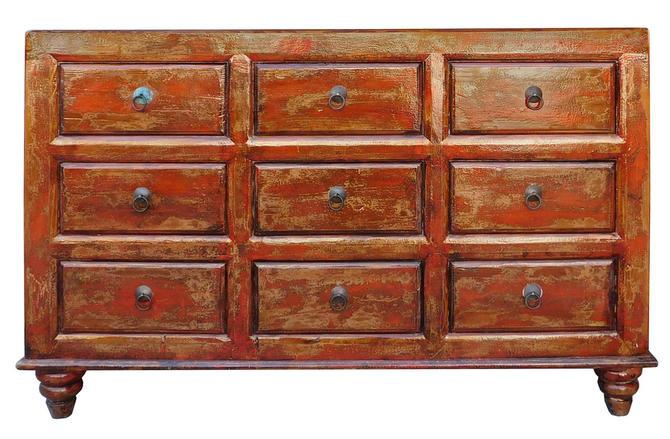 Chinese Distressed Orange Brown 9 Drawers Dresser Cabinet cs1977E by GoldenLotusAntiques