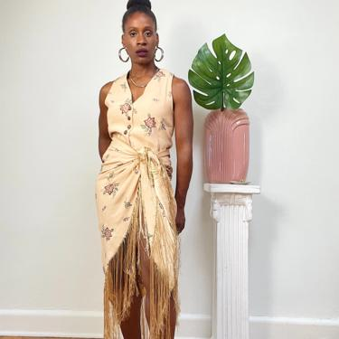 Vintage 1980s 1990s 90s Three Piece Vest Pant Suit Floral Embroidered Sleeveless Tie Back Rayon Wide Leg Oversized Fringe Shawl Small by KeepersVintage