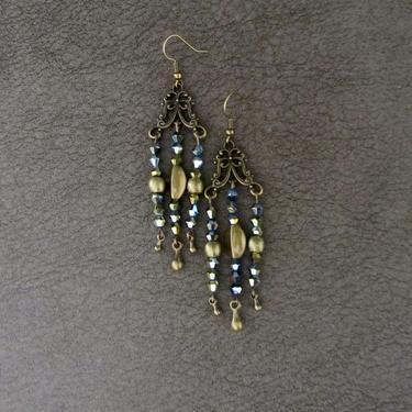 Gypsy chandelier earrings, boho chic earrings, teal crystal earrings, Brass rustic earrings, unique artisan, Victorian bling earrings by Afrocasian
