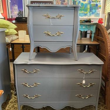 """Grey French provincial nightstand and matching 3-drawer chest of drawers Nightstand is 24"""" x 15"""" x 25"""" Chest is 42"""" x 18.5"""" x 31"""""""