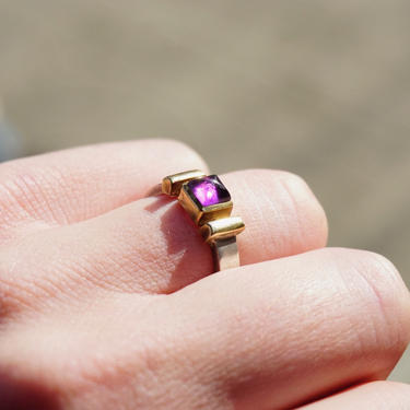 Vintage Amethyst 14K Gold Overlay Sterling Silver Ring, Beautiful Silver Ring With Gold Accents and Purple Stone, 14K Sterling Ring by shopGoodsVintage