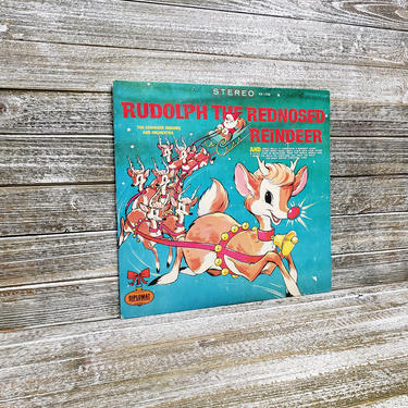 Vintage Rudolph the Red Nosed Reindeer Record 33 1/3, Diplomat Records LP Album, Caroleer Singers Orchestra, Christmas Music, Vintage Vinyl by AGoGoVintage