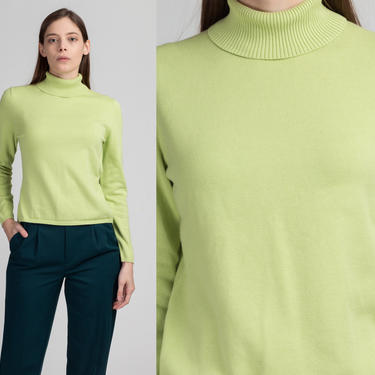 Vintage 90s Green Turtleneck - Medium   Plain Pullover Stretchy Ribbed Sweater Top by FlyingAppleVintage