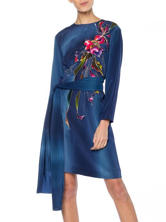 1980S Blue  & Pink Silk Crepe De Chine Hand Painted Tunic Dress by SHOPMORPHEW