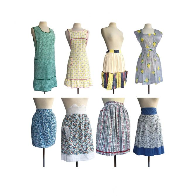 Vintage 50s/ 60s handmade aprons  floral aprons  gift for foodie  chef  hostess gift by Vintagiality