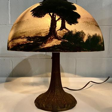 Antique Reverse Painted Glass Shade, with Art Nouveau Gilt Metal Lamp