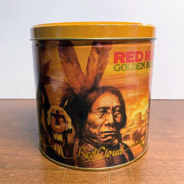 Vintage Red Man Tobacco Golden Blend 1988 Tobacco Tin by OverTheYearsFinds