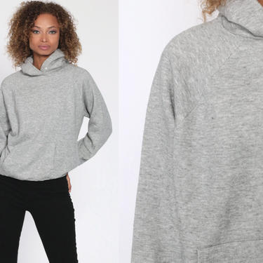 Hooded Sweatshirt 80s Grey Hoodie Sweatshirt Plain Shirt Hood 1980s Sweater Vintage Normcore Gym Sportswear Gray Sweatshirt Small Medium by ShopExile