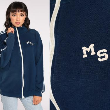 MSU Track Jacket Montana State University Zip Up Sweatshirt 70s Striped Jacket 80s Sport Blue Sweatshirt Retro Vintage Tracksuit Large by ShopExile
