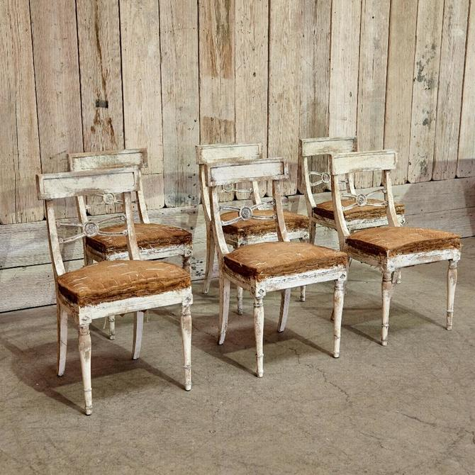 Vintage Burlap Dining Chair Set of 6