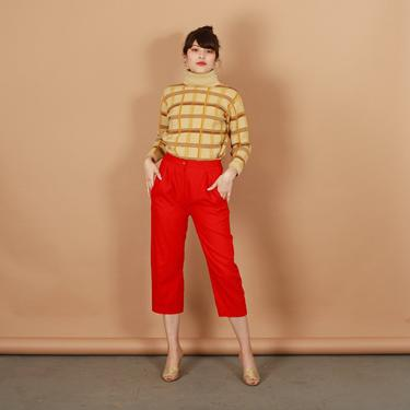 80s Bright Red High Waisted Linen Pants Vintage Cropped Straight Leg Petite Trousers by AppleBranchesVintage
