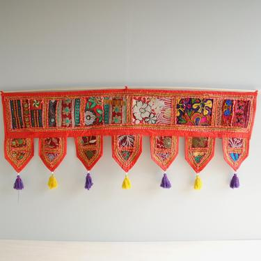 """Vintage Toran from India, Over the Door or Window Textile Hanging, 40"""" Colorful Embroidered Indian Toran Valance, Red Toran Door Hanging by LittleDogVintage"""