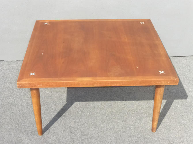 Vintage Danish Mid Century Modern Square Peg Leg Coffee table w X's on Top by VintageLAfurniture