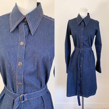 Vintage 1990s Indigo Denim Shirt Dress / S by MsTips