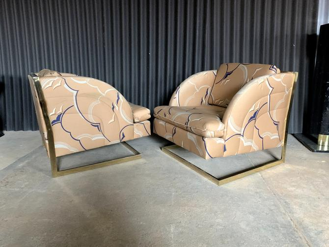 Carson's, Inc of High Point Brass Plated Cantilevered Lounge Chairs (Pair) by HermansSteelGarage