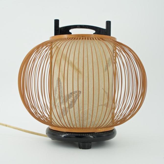 Mid-Century Japanese Bamboo Lantern Table Lamp Floral Paper Shade 50s Retro Asian Black Lacquered Base Original Miyabi Andon Rattan Wicker by BrainWashington