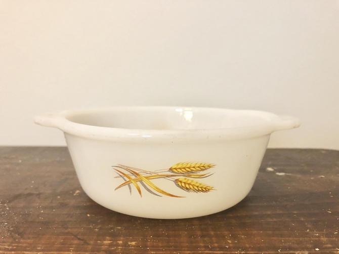 Vintage Mid Century Fire King Casserole Dish, Wheat Pattern by BlackcurrantPreserve