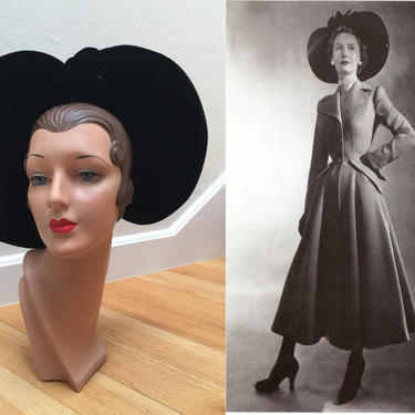 Her Dior Days Were Still Ahead - Vintage 1940s Black Velvet & Felt Stand Up Wide Brim Halo Hat by RoadsLessTravelled2