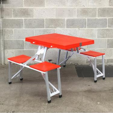 Vintage Folding Picnic Table Retro 1980s Camping + Orange Plastic + Silver Metal Frame + Folds Up + Table and 4 Chairs + Outdoor Dining by RetrospectVintage215