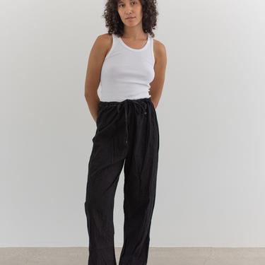 Vintage 28-40 Waist Black Drawstring Easy Pant   Pocket High Waist Cotton Pants   L XL   by RAWSONSTUDIO