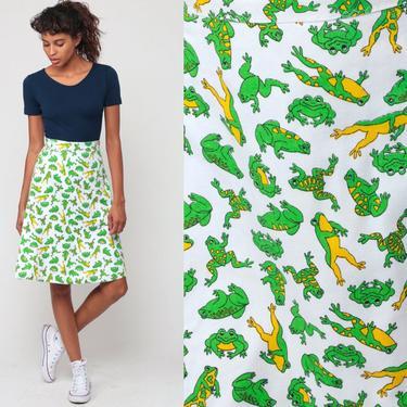 70s Mini Skirt FROG PRINT Wrap High Waisted Skirt Boho Mod 1970s Hippie A Line Bohemian Animal White Green Retro Vintage Extra Small xs by ShopExile