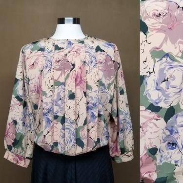 Vintage 80s Floral Pleated Dress Blouse ~ Loose Fitting Blouson Style ~ Pastel Pink Blue & Cream ~ Wide Sleeves ~ Keyhole Back ~ Large by SoughtClothier
