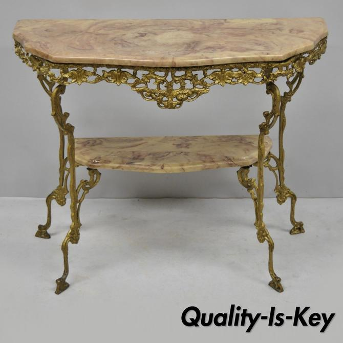 Antique Victorian French Gold Iron Console Hall Table w/ Faux Marble Resin Top