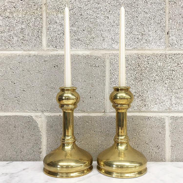 Vintage Candlestick Holders Retro 1980s Contemporary + Gold Brass Metal + 10 Inches Tall + Set of 2 Matching + Lighting + Home Decor by RetrospectVintage215