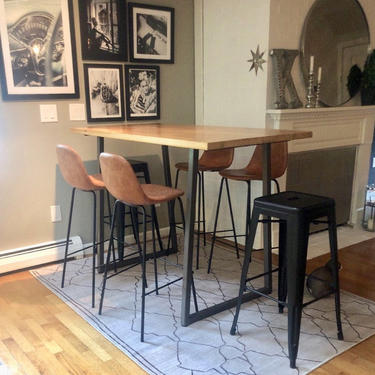 Solid Wood Bar Height or Counter Height Table, Pub Table with reclaimed wood and flared U steel legs. Choose color, size, thickness, finish by UrbanWoodGoods