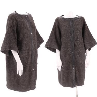 60s SILLS Bonnie Cashin gray wool coat M-L / vintage 1960s nubbly wool leather trim mod car clutch swing coat 50s by ritualvintage